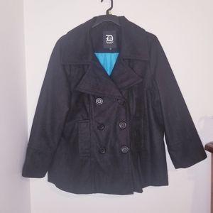 Dollhouse Black Pea Coat w/Blue Lining.